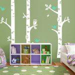 Muursticker Bomen met Uil en Vogels