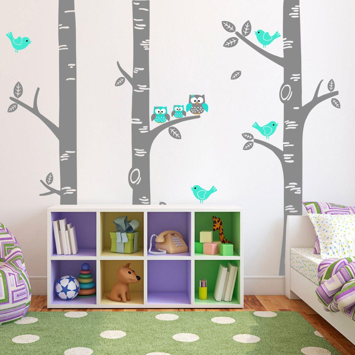 Muursticker Bomen met Familie Uil en Vogels